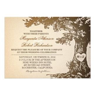 viejas invitaciones del boda del roble del vintage