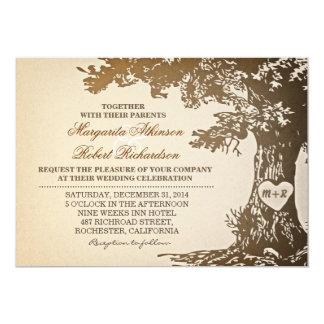 viejas invitaciones del boda del roble del vintage comunicados personales