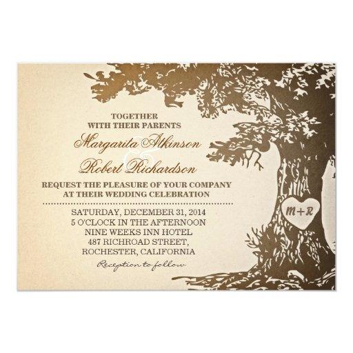 """viejas invitaciones del boda del roble del vintage invitación 5"""" x 7"""""""