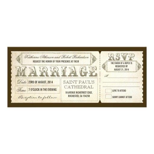 viejas invitaciones del boda del vintage - boletos comunicado
