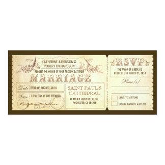 """viejas invitaciones del boda del vintage - boletos invitación 4"""" x 9.25"""""""