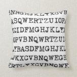 Viejas letras de la máquina de escribir almohada