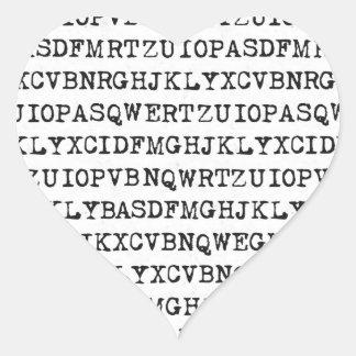 Viejas letras de la máquina de escribir pegatina en forma de corazón
