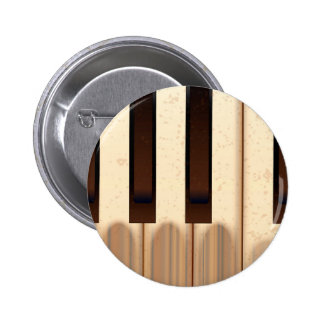 Viejas llaves llevadas del piano pin redondo de 2 pulgadas