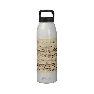 Viejas notas de la música - hoja de música de Bach Botella De Agua