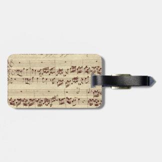 Viejas notas de la música - hoja de música de Bach Etiquetas Bolsa