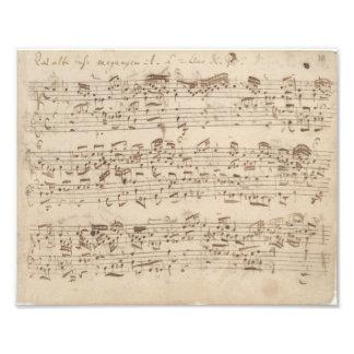 Viejas notas de la música - hoja de música de Bach Fotografías