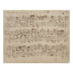 Viejas notas de la música - hoja de música de Bach Poster