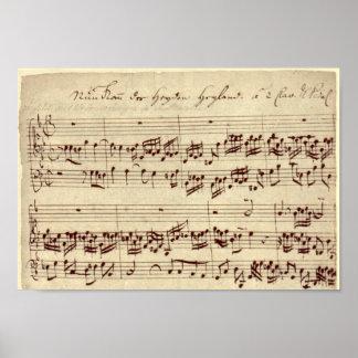Viejas notas de la música - hoja de música de Bach Posters