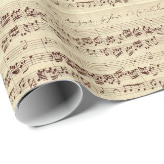Viejas notas de la música - hoja de música de Bach Papel De Regalo