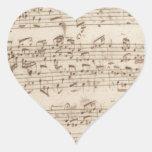 Viejas notas de la música - hoja de música de Bach Calcomanía Corazón