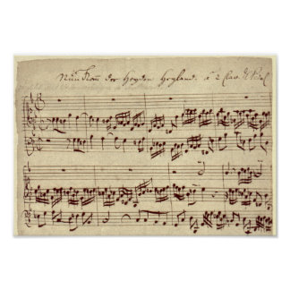 Viejas notas de la música - hoja de música de Bach Póster