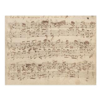 Viejas notas de la música - hoja de música de Bach Tarjeta Postal