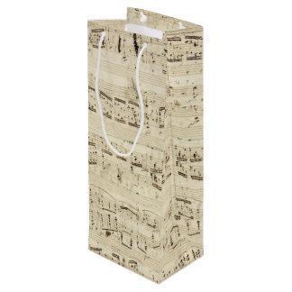Viejas notas de la música - hoja de música de bolsa de regalo para vino