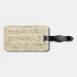 Viejas notas de la música - hoja de música de Chop Etiquetas De Maletas