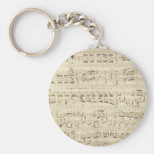 Viejas notas de la música - hoja de música de Chop Llavero