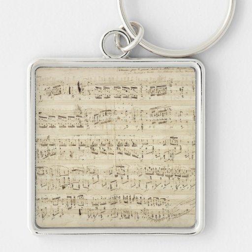Viejas notas de la música - hoja de música de Chop Llavero Cuadrado Plateado
