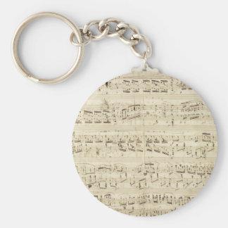 Viejas notas de la música - hoja de música de Chop Llavero Redondo Tipo Pin