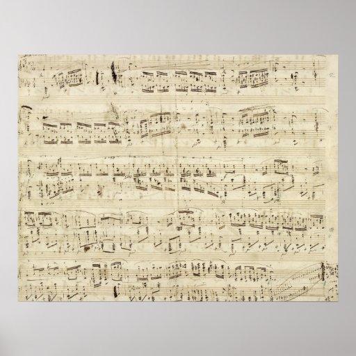 Viejas notas de la música - hoja de música de Chop Impresiones