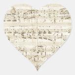 Viejas notas de la música - hoja de música de Chop Calcomanía Corazón