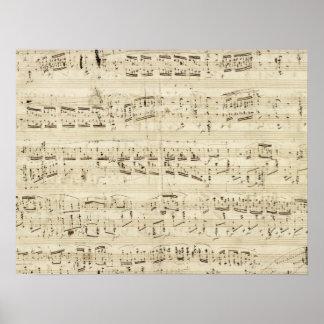 Viejas notas de la música - hoja de música de Chop Póster