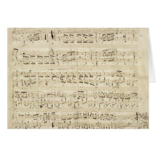 Viejas notas de la música - hoja de música de Chop Tarjeta De Felicitación