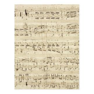 Viejas notas de la música - hoja de música de Chop Tarjetas Postales