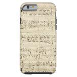 Viejas notas de la música - hoja de música de funda de iPhone 6 tough