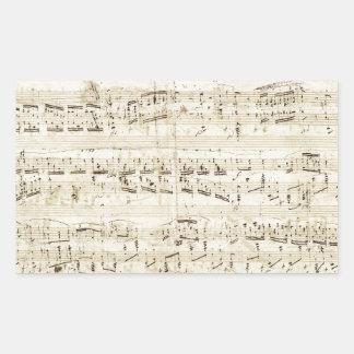 Viejas notas de la música - hoja de música de pegatina rectangular