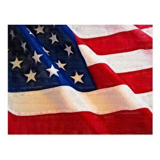 Viejas ondulaciones de la bandera americana de la postal