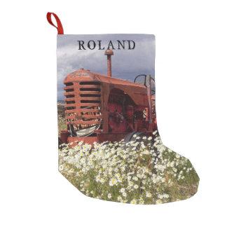 Viejo almacenamiento rústico del navidad del calcetín navideño pequeño