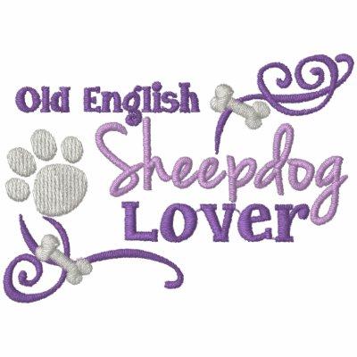 Viejo amante inglés del perro pastor encapuchada bordada