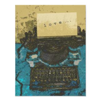"""Viejo amor de la máquina de escribir… invitación 4.25"""" x 5.5"""""""