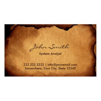 Viejo analista de sistemas de papel quemado tarjetas de visita