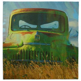 Viejo arte abandonado del camión del vintage servilleta de papel