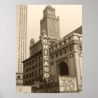 Viejo arte de la foto de Chicago - fotografía del Póster