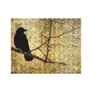 Viejo arte del cuervo del damasco impresión en lona estirada