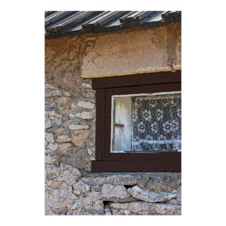 Viejo arte del poster de la ventana del cordón