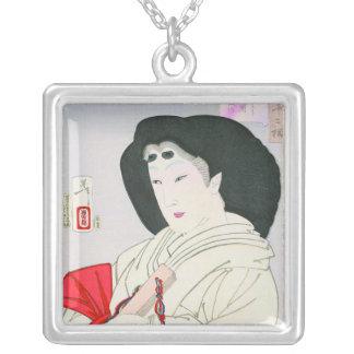 Viejo arte japonés oriental fresco de la señora de pendientes personalizados
