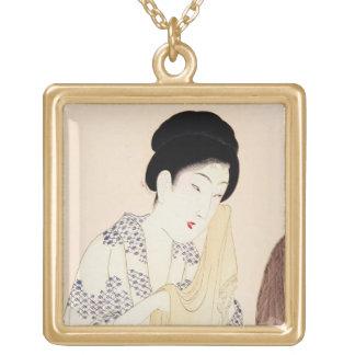 Viejo arte japonés oriental fresco de la señora de collar personalizado