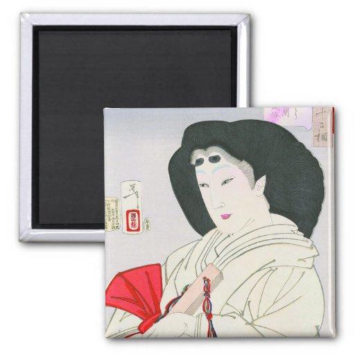 Viejo arte japonés oriental fresco de la señora de imán cuadrado