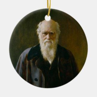 Viejo ateo de Charles Darwin un ornamento Adorno Navideño Redondo De Cerámica