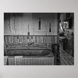 Viejo baño del oeste de la peluquería de caballero póster