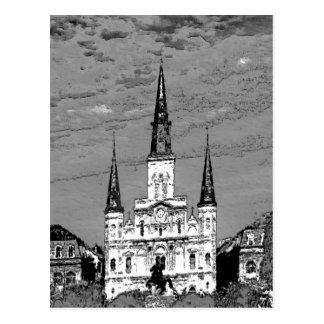 Viejo barrio francés de la catedral de St. Louis d Postal