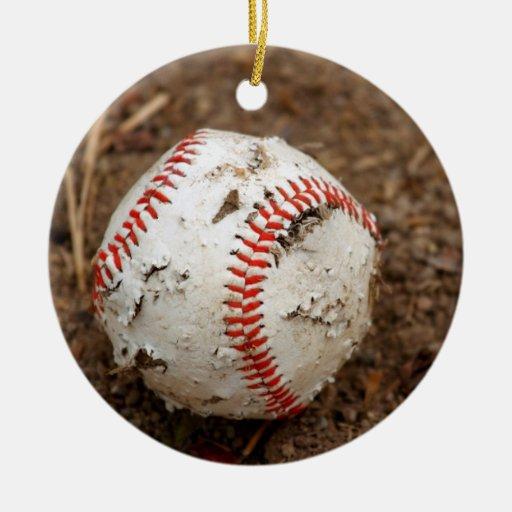 Viejo béisbol adorno redondo de cerámica