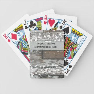 Viejo blanco de madera del país personalizado baraja cartas de poker