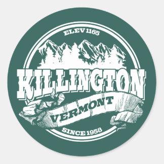 Viejo blanco del círculo de Killington Pegatina Redonda
