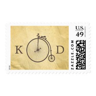 Viejo boda de papel de la bicicleta del vintage timbres postales