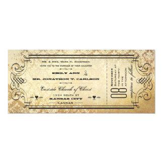 """Viejo boda de papel de la tipografía del Flourish Invitación 4"""" X 9.25"""""""