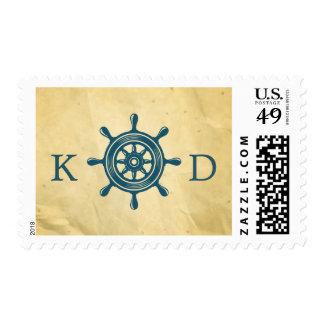 Viejo boda de papel del timón náutico azul timbres postales